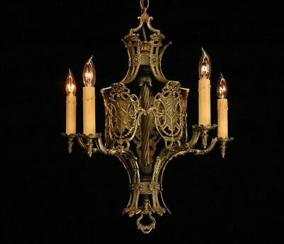 Antique Restored 1920'S Medieval Spanish Revival Brass 5 Arm Shield Chandelier