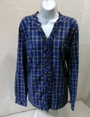 3cca1649b275b4 Laura Scott Womens 16 18W Plaid Shirt Long Sleeve Button Ruffle Blue Cotton  Blou