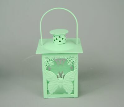 Tea Light Candle Lantern Holder  Mint Green Metal Butterfly  Holder