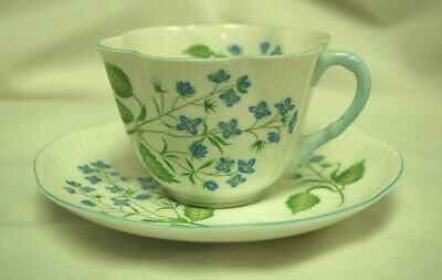Shelley Fine Bone China American Brooklime Tea Cup & Saucer / England S8848