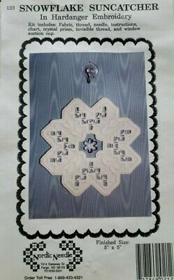 Nordic Needle - Snowflake Suncatcher HARDANGER EMBROIDERY KIT 5x5 white # 123