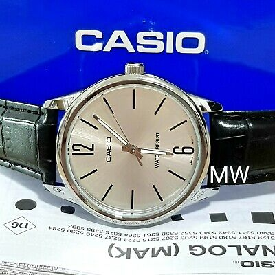 Casio MTP-V005L-7B Men's Analog Watch BLACK Leather SILVER Dial Water Resist NEW