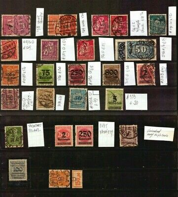 Germany Inflation Used Stamps & Varieties Color Ovpt Catalogue Value +$300