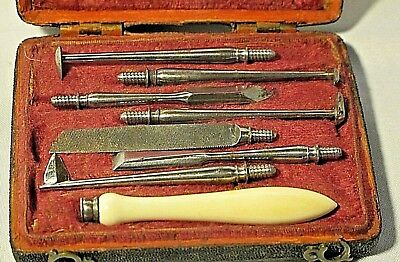 Antique 18th Century Dental Scaling Tools+Case