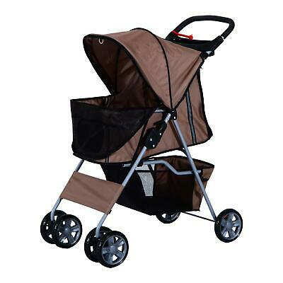 Foldable Pet Stroller Travel System Jogging Wheels 75L 45W 97H Cm Brown & Silver