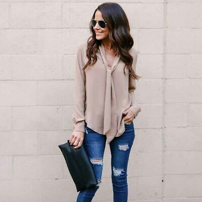 Business Shirts Womens Tie Blouse Chiffon Tops Plain Long Sleeve Loose Clothing