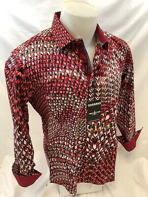 Mens BARABAS Designer Shirt RED ABSTRACT MULTI COLOR SLIM FIT Button Up B9013