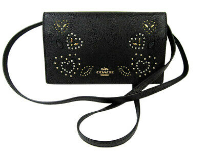 0c26ee99f3d Coach Womens Black F556165 Leather Foldover Crossbody Clutch Wallet 8650-4