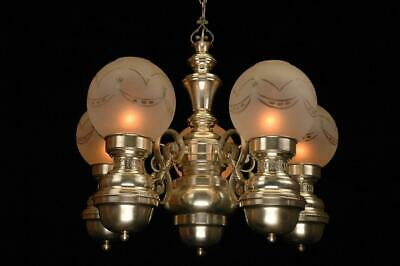Gorgeous Grand Southern Victorian 5 Arm Restored Silver Oil Fount Chandelier