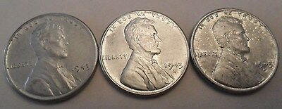 1943 P D S Steel Wheat Cent Penny Set (3 Coins!)     **FREE SHIPPING**