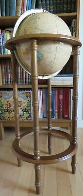 """World Globe Cram's Imperial 38"""" Tall with 12"""" mounted on Wooden Floor Stand 1993"""