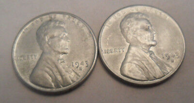 1943 S Steel Wheat Cent / Penny Set  (2 Coins!)    **FREE SHIPPING**