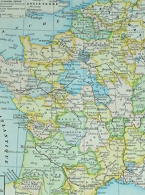 1905 Map France 1610-1789 Normandy Orleans Brittany Brussels Lorraine