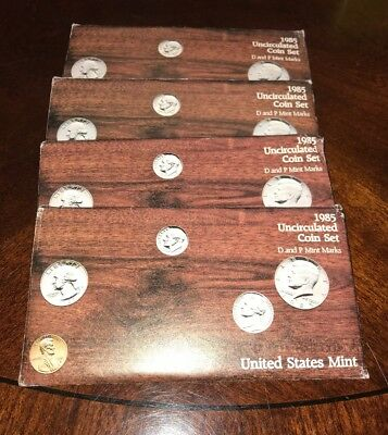 1985 Uncirculated U.s. Mint Sets Lot Of (4) Issued By U.s. Mint In Origunal Gop