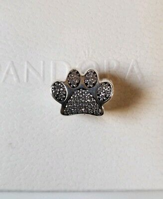 PAW PRINTS Authentic PANDORA Silver PET Animal Charm/Bead 791714CZ Silver A925