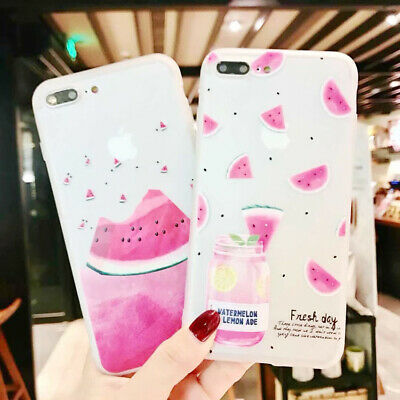 Cute Cartoon Watermelon Silicone Phone Case Cover For iPhone X 8 7 6/6S Plus