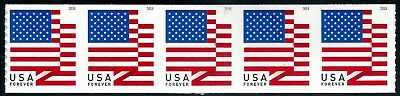 US Scott #5260 (50c Forever) US Flag Coil Strip of 5 APU 2018 Mint NH