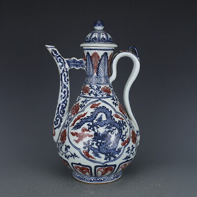 Nice Chinese Ming Blue White Underglaze Red Porcelain Dragon Teapot