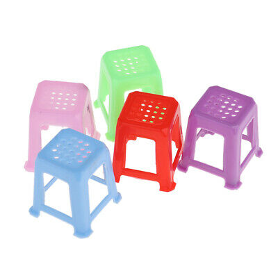 MagiDeal 1/12 Dollhouse Miniature Furniture Chair Four Square Stool 5 Pieces