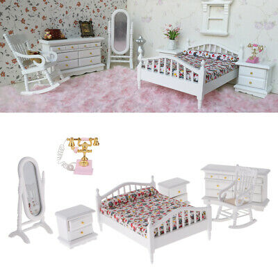 MagiDeal 6pcs 1:12 Dollhouse Bedroom Furniture Wooden Bed Cabient Phone Kits