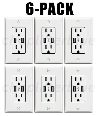 Electrical Outlet Stickers 6-Pack USB Prank Fake Joke Funny Custom Sticker Decal