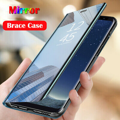 For Xiaomi Redmi Note 8 7 6 Pro Smart Clear Mirror Leather Flip Stand Case Cover