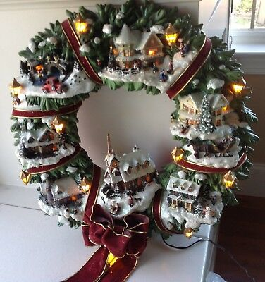 Thomas Kinkade Christmas Village Wreath Christmas Decor And Lights
