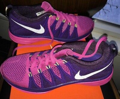 f120b2c9940ac Womens Nike Flyknit Lunar2 Running Shoes Free Air Cross Training Purple Pink  8.5