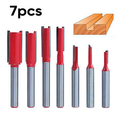 """7pc 1/4"""" Shank Router Bit Straight Cutter Routing Woodworking Cutter Set Tool J"""