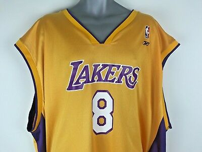 Los Angeles Lakers Kobe Bryant Reebok Jersey Mens Size 4XL  8 Yellow  Authentic 0ee3ac9f9