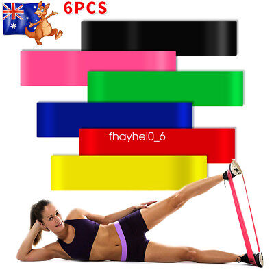 6X Pull Up Resistance Body Stretching Band Loop Power Gym Fitness Exercise Yoga
