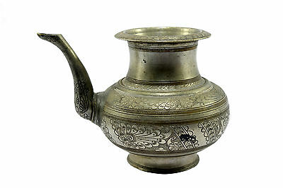 Antique Indian Hand Crafted Beautiful Work Big Brass Water Pot/Vessel.G56-133 AU