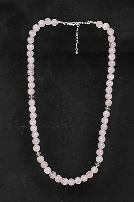 220 Ct Real Pink Rose Quartz Smooth Round Bead Necklace 925 Sterling Silver 18""