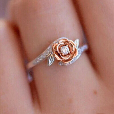 Exquisite Two Tone Women 925 Silver Floral Ring Wedding Flower Jewelry Size 6-10