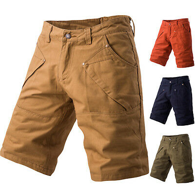 Mens Chino Shorts Cotton Summer Casual Jeans Cargo Work Combat Half Pants 1/2
