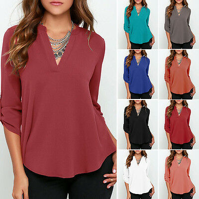 Plus Size Womens V-Neck Loose Chiffon Shirt Long Sleeve Tops Blouse Size 8-22