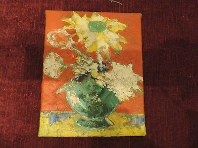 modern oil canvas Flowers EXPRESSIONIST very warm 19 cm x 24 cm aprox. UNSIGNED