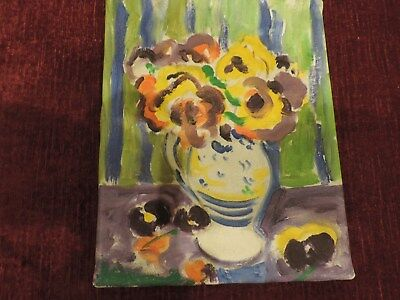 modern oil canvas Flowers very  nice 19cm x 24cm aprox. UNSIGNED