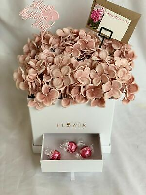 Artificial Silk Flower Hat Box Arrangement Gift Faux Hydrangea Hospital Flowers