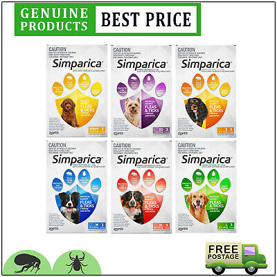 SIMPARICA for Dogs All Sizes 3 Doses Chewable Tick and Flea Prevention by Zoetis
