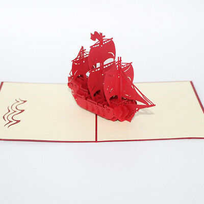 3D Paper Card Greeting Gift Cards Sailing Boat Featival Birthday Postcard BS