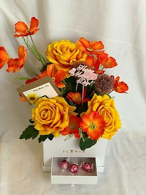 Mothers Day Artificial Silk Flower Hat Box Arrangement Gift Faux Rose Cosmos