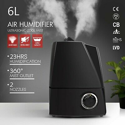 6L Air Humidifier Ultrasonic Cool Mist Steam Nebuliser Aroma Diffuser Purifier