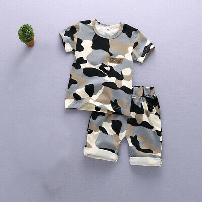 2pcs Boys girls summer cool camouflage outfits cotton summer Tee +short pants