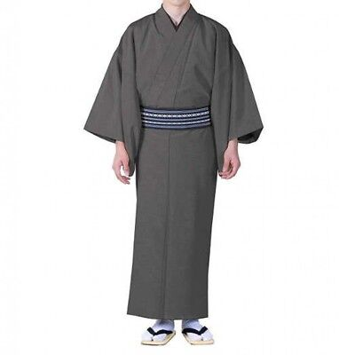 Traditional Japanese Mens Kimono Washable Pongee Gray XL Japan with Tracking