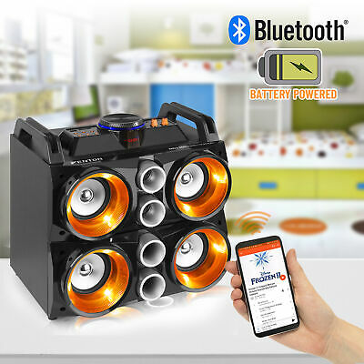 Battery Powered Portable Stereo Quad Speaker with Bluetooth USB & Lights 150w