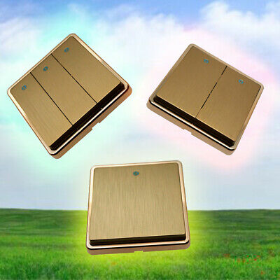V10 Light Switch 1/2/3 Gang 2 Way Wall On/ Off Switch Gold Colour 1/3/5 & Pack
