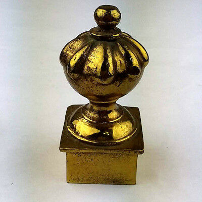 Vintage Solid Brass Post Rod Ball Finial Victorian French Style Heavy 3.5 x 1