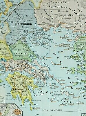 1905 Map Ancient Greece Macedonia Thrace Peloponnese Macedonia