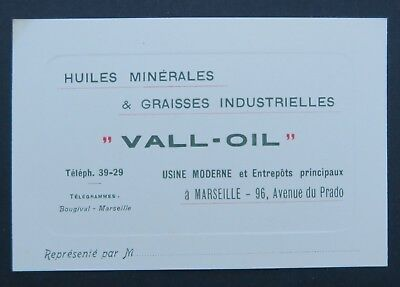 Carte De Visite HUILE MINERALE VALL OIL Marseille Oil Can Bidon Old Visit Card